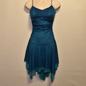 City Triangles Aqua Beaded Scarf Hem Prom Dress